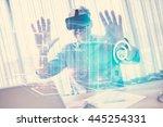 blueprint interface against... | Shutterstock . vector #445254331