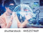 global technology background in ... | Shutterstock . vector #445257469
