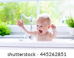 baby taking bath in kitchen... | Shutterstock . vector #445262851