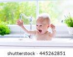 baby taking bath in kitchen... | Shutterstock . vector #445262851