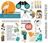 birds watching  outdoors hobby...   Shutterstock .eps vector #445273315