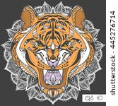 wild tiger head artwork. ... | Shutterstock .eps vector #445276714