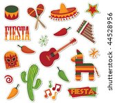 collection of mexican stickers... | Shutterstock .eps vector #44528956