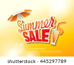 summer sale banner. vector... | Shutterstock .eps vector #445297789
