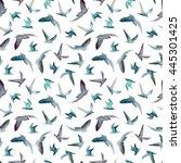 birds seamless pattern.... | Shutterstock . vector #445301425