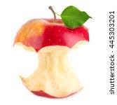 bitten red apple | Shutterstock . vector #445303201