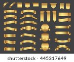 ribbon banner set. golden... | Shutterstock .eps vector #445317649