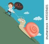 businessman pull slow snail...   Shutterstock .eps vector #445335601