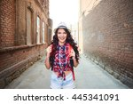 portrait of a girl tourist in a ... | Shutterstock . vector #445341091