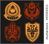 set of military   army patches... | Shutterstock .eps vector #445343311
