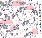 cute seamless pattern with... | Shutterstock .eps vector #445347679