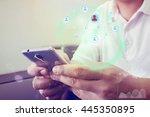 businessman using a digital web ... | Shutterstock . vector #445350895
