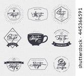 coffee shop   badge  signboard... | Shutterstock .eps vector #445366591