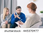 during marital therapy husband... | Shutterstock . vector #445370977