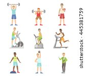 men training in gym set | Shutterstock .eps vector #445381759