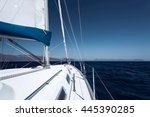 sailing boat in blue open sea | Shutterstock . vector #445390285