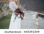 wedding. the girl in a white... | Shutterstock . vector #445392349