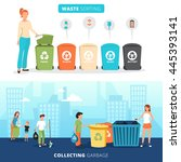 waste sorting bins for paper... | Shutterstock .eps vector #445393141