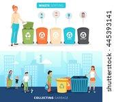 waste sorting bins for paper...   Shutterstock .eps vector #445393141