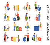 people collecting and sorting... | Shutterstock .eps vector #445393165