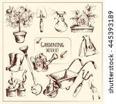 gardening instruments sketch... | Shutterstock .eps vector #445393189