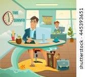 sad office clerk dreaming of...   Shutterstock .eps vector #445393651