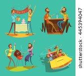 friends cartoon set with... | Shutterstock .eps vector #445394047