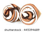 two chocolate ice creams on a... | Shutterstock . vector #445394689