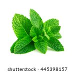 Mint Leaves Isolated On White...