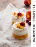 summer dessert of peaches and... | Shutterstock . vector #445398481