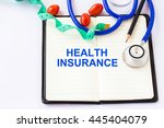 health insurance text  on... | Shutterstock . vector #445404079