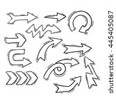 doodle arrows collection on... | Shutterstock .eps vector #445405087