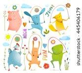 animal set jumping rope... | Shutterstock . vector #445406179