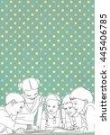 illustrated group of children... | Shutterstock . vector #445406785