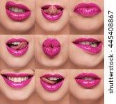 lips collage | Shutterstock . vector #445408867