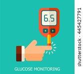blood glucose test. flat...   Shutterstock . vector #445427791