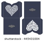set of 2 wedding invitation... | Shutterstock .eps vector #445431004