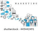 marketing team on white... | Shutterstock .eps vector #445442491