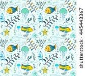 underwater seamless pattern... | Shutterstock .eps vector #445443367