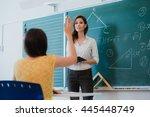 teacher or docent or educator... | Shutterstock . vector #445448749
