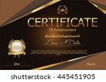 certificate or diploma template | Shutterstock .eps vector #445451905
