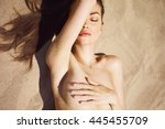 nude beautiful woman on the... | Shutterstock . vector #445455709