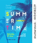 summer time party poster design ... | Shutterstock .eps vector #445458229