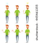 male hipster characters set... | Shutterstock .eps vector #445461355
