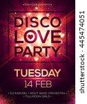 disco love party poster vector... | Shutterstock .eps vector #445474051