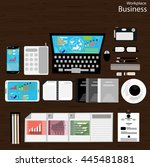 vector workplace business... | Shutterstock .eps vector #445481881