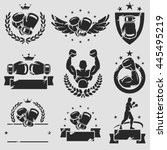 boxing labels and icons set.... | Shutterstock .eps vector #445495219