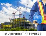 construction worker checking... | Shutterstock . vector #445498639