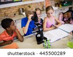 children looking in microscope... | Shutterstock . vector #445500289