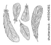 Hand Drawn Vintage Feathers Se...